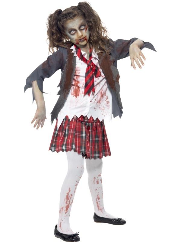 Halloween Verkleedkleding Kind.Zombie School Meisje Kostuum