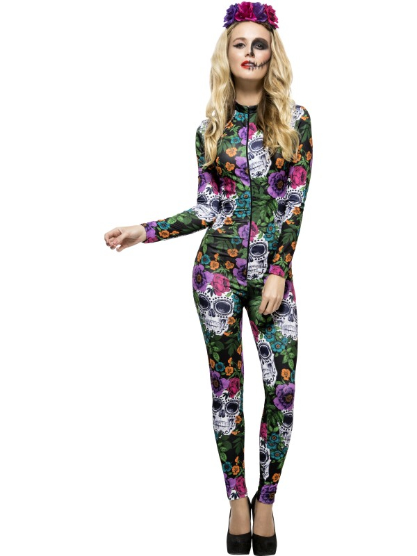 Day of the Dead Gekleurde Catsuit