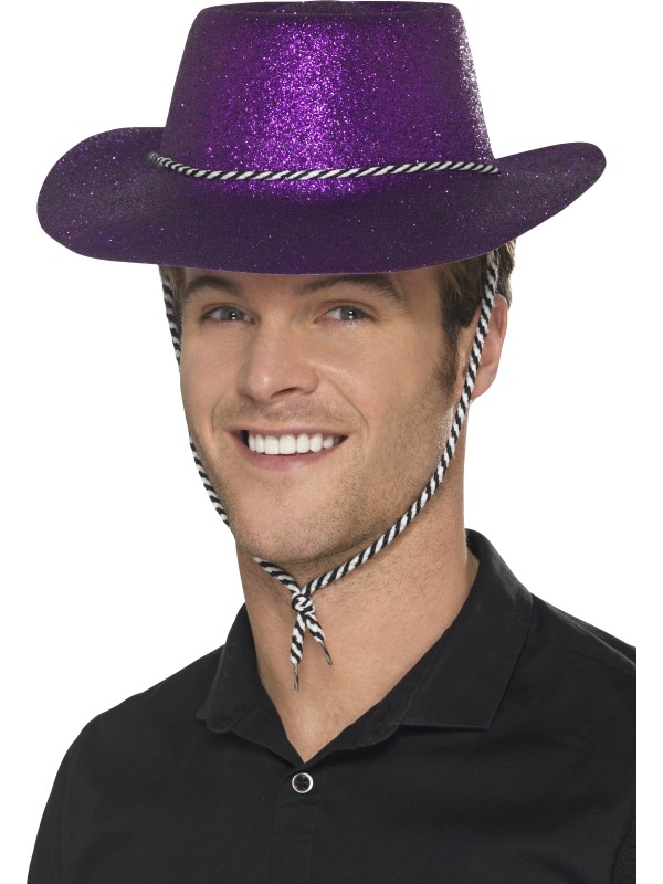 Paarse Glitter plastic cowboy hoed