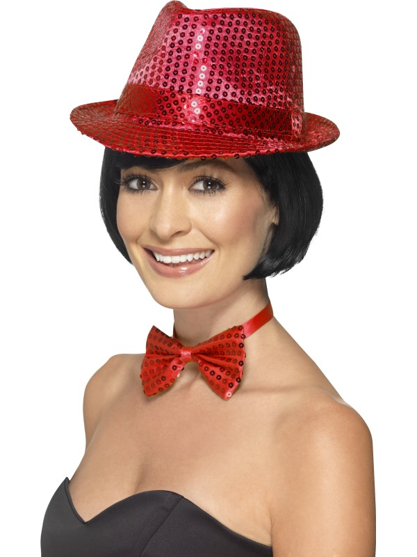 Glitter glamour Trilby Hoed Rood Unisex