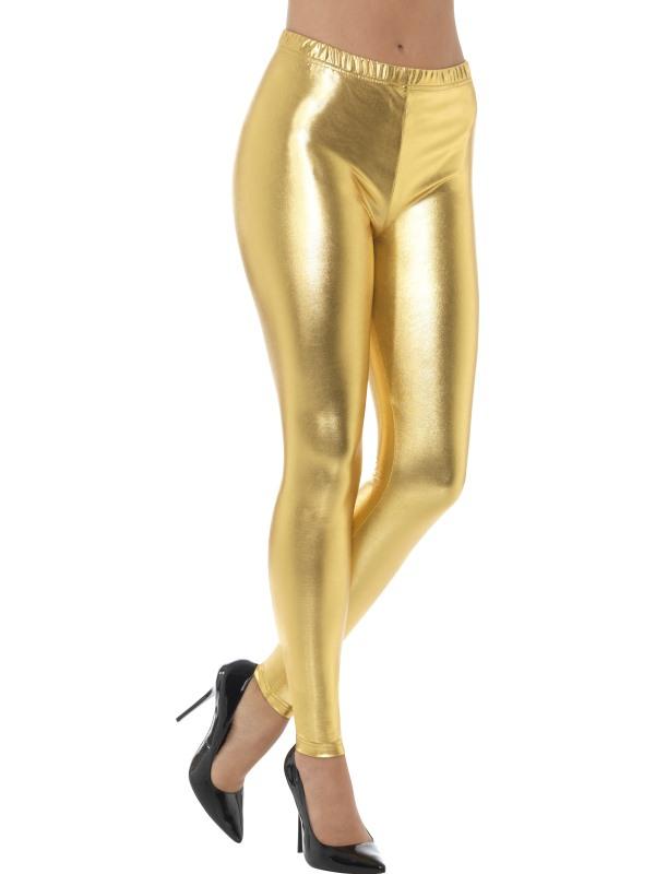 60e016d10f7bec Jaren 80 Metallic Disco Legging Goud