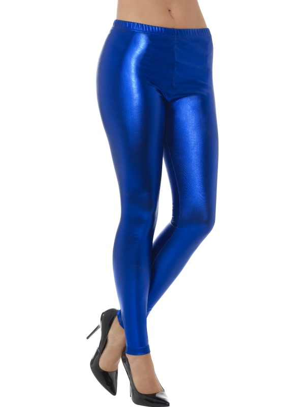 Metallic Disco Legging Blauw