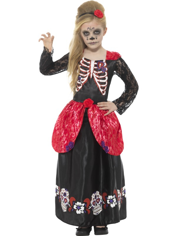 Deluxe Day of the Dead Meisjes Kostuum
