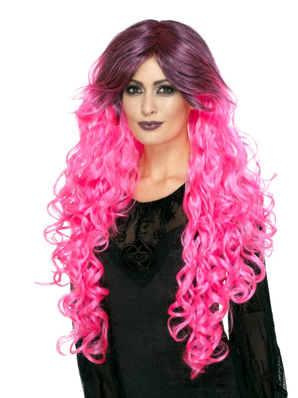Gothic Glamour Pruik Neon Roze