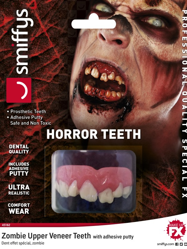 Horror Tanden, Zombie, with Upper Veneer Teeth