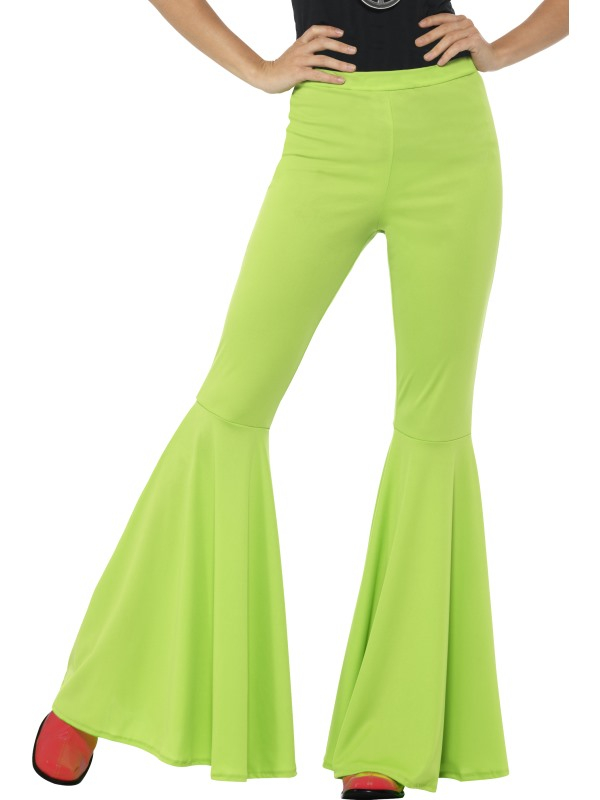 Lime Groene Flared Trousers, Ladies
