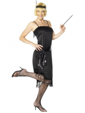 Flapper Dress Kostuum zwart