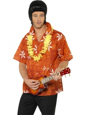 Elvis Hawaii shirt met  Bloemenkrans