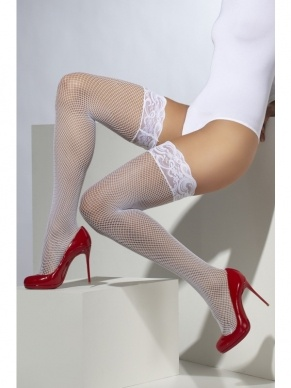 Fishnet Hold-Ups wit met Kant