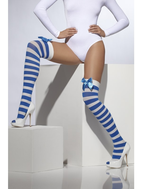 Blauw Wit Gestreepte Stockings met Strik