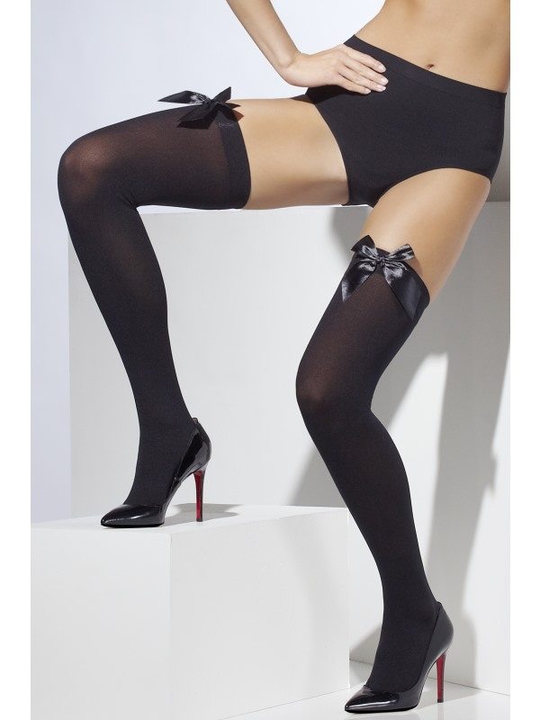 Opaque Hold-Ups zwart met Zwarte Strik