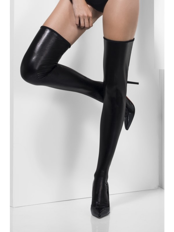 Wet Look zwart Hold-Ups