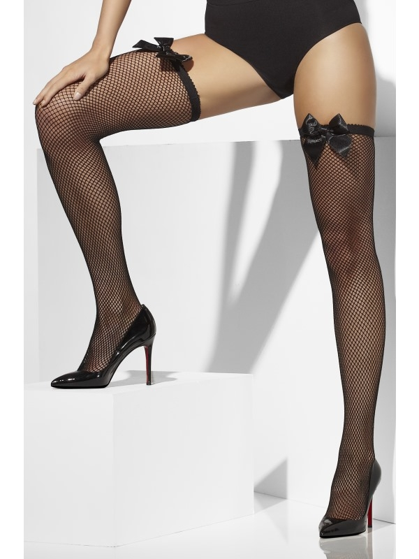 Fishnet Hold-Ups zwart met Strik